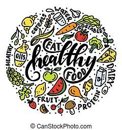 sano, de motivación, phrase., comer, comida.