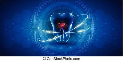 sano, diente, icono, resumen, tratamiento