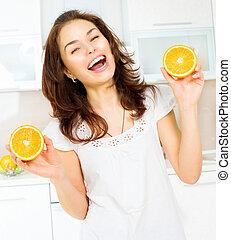 sano, divertido, mujer, con, oranges., dieta, y, el comer sano