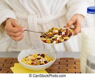 sano, Elaboración, desayuno, mujer, Primer plano