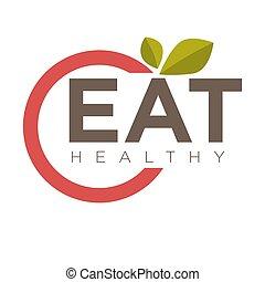 sano, emblema, comer