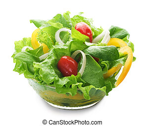 sano, encima, blanco, ensalada
