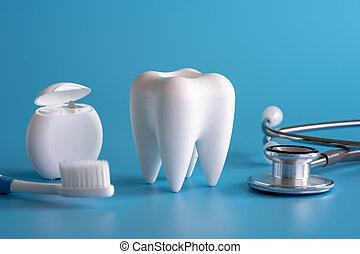 sano, equipo dental, herramientas, para, cuidado dental, profesional, dental, concepto