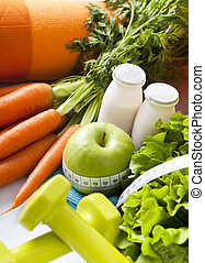 sano, equipo, deporte, alimento