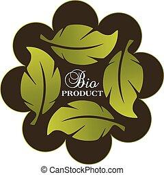 sano, fresco, concetto, mette foglie, logotipo