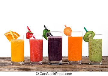 sano, fresco, drinks., jugo de fruta