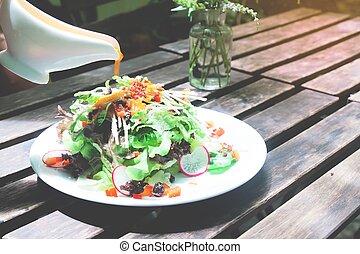 sano, fresco, ensalada, blanco, placa, fresco, mañana, con, alimento sano