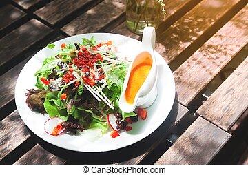 sano, fresco, ensalada, blanco, placa, mañana, alimento sano