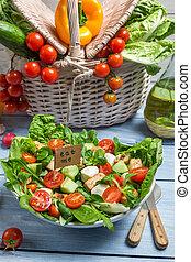 sano, fresco, mangiare, insalata