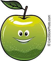 sano, fresco, verde, cartone animato, mela