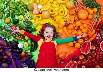 sano, fruta, y, vegetal, nutrición, para, niños