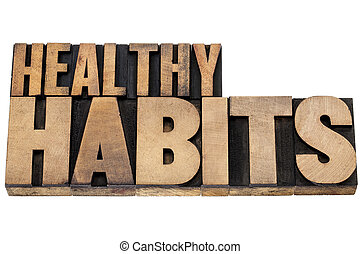 sano, hábitos, en, madera, tipo