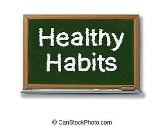 sano, hábitos, en, un, escuela, negro, tabla