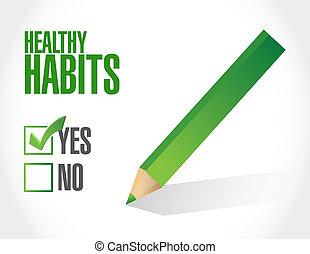 sano, hábitos, marca de verificación, señal, concepto