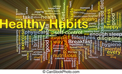 sano, hábitos, plano de fondo, concepto, encendido