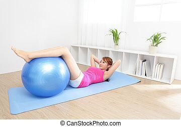 sano, hogar, mujer, yoga, joven