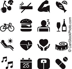 sano, icone, set, 2, vettore, illustrazione