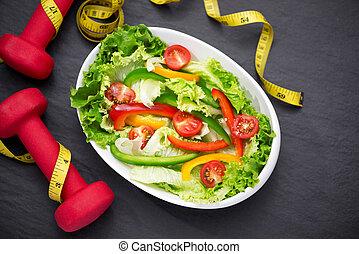 sano, idoneità, pasto, con, fresco, salad., dieta, concept.