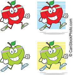 sano, jogging, carattere, mele