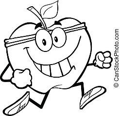 sano, jogging, delineato, mela