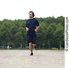 sano, jogging, joven