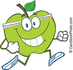 sano, jogging, manzana verde