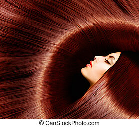 sano, largo, marrón, hair., belleza, morena, mujer