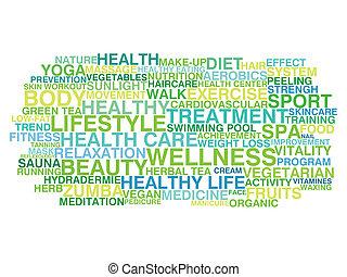 sano, lifestyle., parola, nuvola