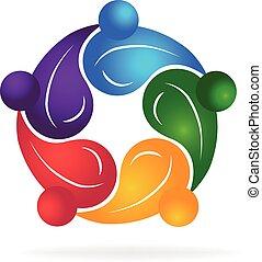 sano, logotipo, lavoro squadra, persone