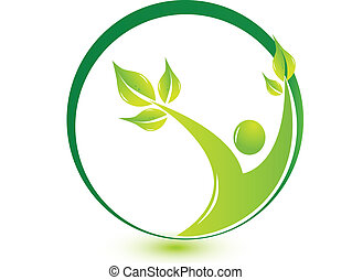 sano, logotipo, leafs, hombre