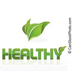 sano, logotipo, mette foglie, natura