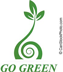 sano, logotipo, verde, icona
