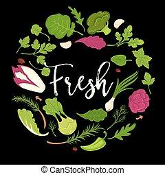 sano, manifesto, verdura, frondoso, dieta, lattuga, vettore, fresco, insalate, vegetariano