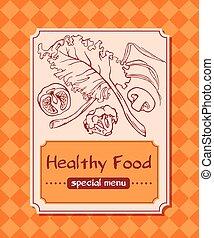 sano, menu, vettore, cibo.