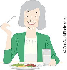 sano, mujer mayor, comer, ilustración