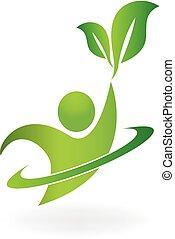 sano, naturaleza, vida, logotipo