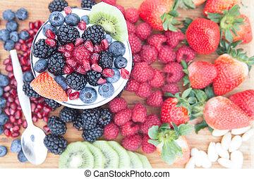 sano, nutritivo, frutas frescas, en, un, tabla de madera