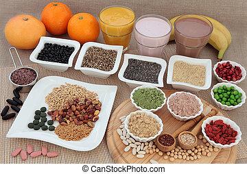 sano, nutrizione, costruttori corpo