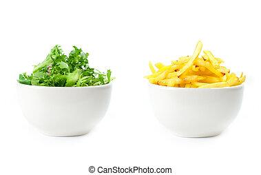 sano, o, cibo malsano