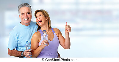 sano, pareja., anciano, condición física