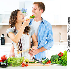 sano, pareja, comida de cocina, dieting., juntos., feliz
