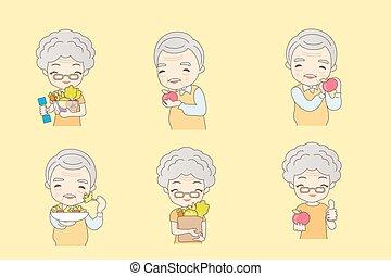 sano, pareja, viejo, comer, fruits