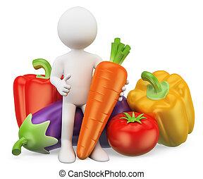 sano, persone., cibo., bianco, verdura, 3d