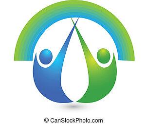 sano, persone, logotipo