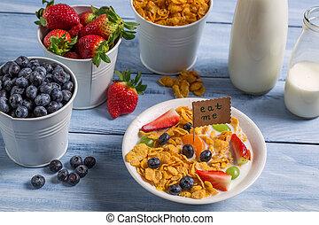 sano, pronto, colazione, mangiare