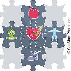 sano, puzzle, stile di vita