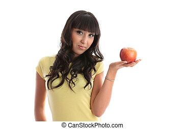 sano, ragazza, con, fresco, mela
