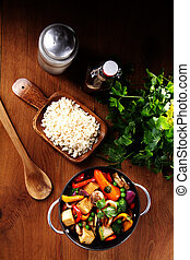 sano, ricetta, su, uno, pan, con, riso, su, il, lato