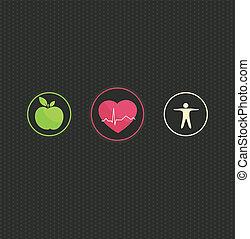 sano, símbolo, concepto, estilo de vida, conjunto