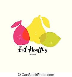 sano, símbolos, comer
